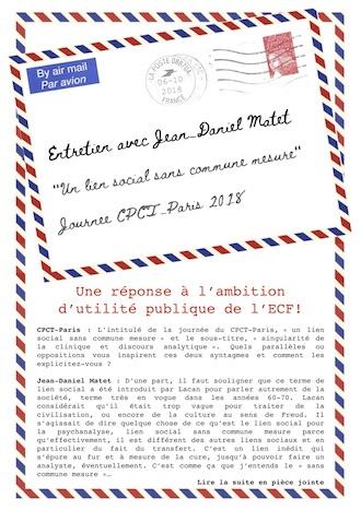 Entretien avec Jean-Daniel Matet – Journée du CPCT-Paris – samedi 6 octobre 2018