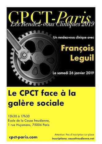 Premier rendez-vous clinique de l'année avec François Leguil le 26 janvier 2019