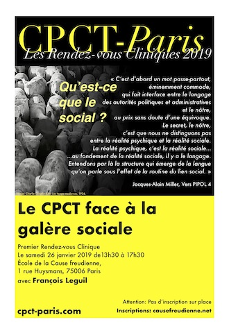 Rendez-vous clinique – «Qu'est-ce que le lien social ?» par Jacques-Alain Miller