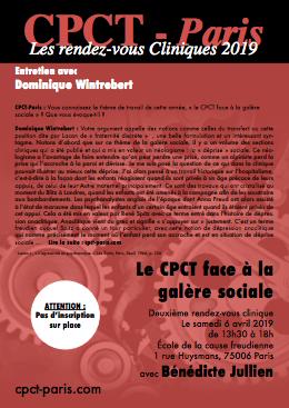 Entretien avec Dominique Wintrebert – 2ème rendez-vous clinique du Cpct-Paris