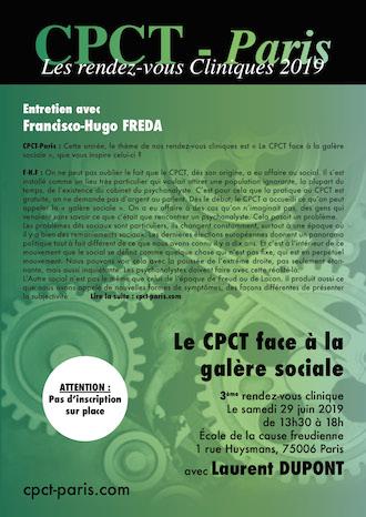Entretien avec Francisco Hugo Freda – Le Cpct-Paris face à la galère sociale – Rendez-vous clinique avec Laurent Dupont (29 juin 2019)