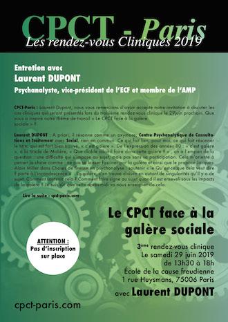 Entretien avec Laurent Dupont – Le Cpct-Paris face à la galère sociale – Rendez-vous clinique avec Laurent Dupont (29 juin 2019)